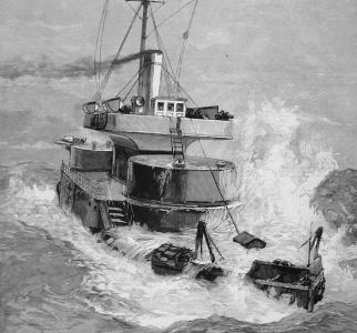 HMS Hecate crossing the North Sea.