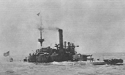 USS Monadnock crossing the Pacific in 1898.
